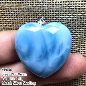 Image 2 - Top Natural Blue Larimar Hart Hanger Sieraden Voor Vrouw Man 29X10Mm Kralen Zilveren Dominica Crystal Water Patroon gemstone Aaaaa