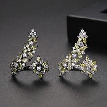 Kemstone Элегантный Циркон Черный Зеленый посеребренный Регулируемый манжет кольцо ювелирные изделия подарок для женщин