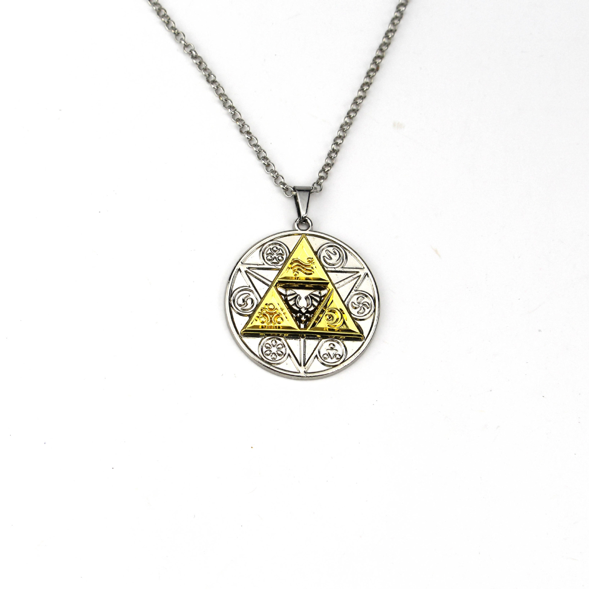 Game Anime The Legend Of Zelda Cosplay Costume Periphery Necklace Triangle Sign Time Gem Glass Pendant Gift Accessories Jewelry