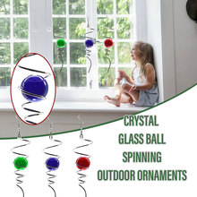 Crystal Glass Ball Pendent Electroplating Visual Wind Spin Tail Outdoor Ornaments L23