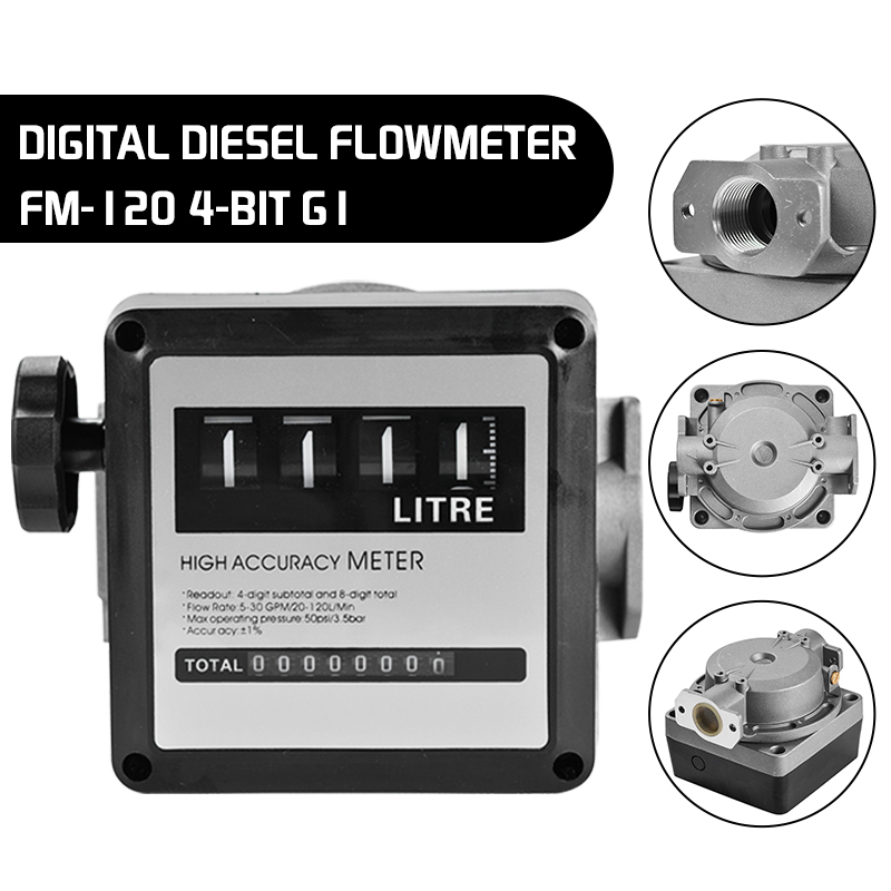 1Pcs FM-120 4 Digital Gasoline Fuel Petrol Oil Flow Meter 20-120L Min Four Digital for Diesel Fuel Oil Flow Meter Counter