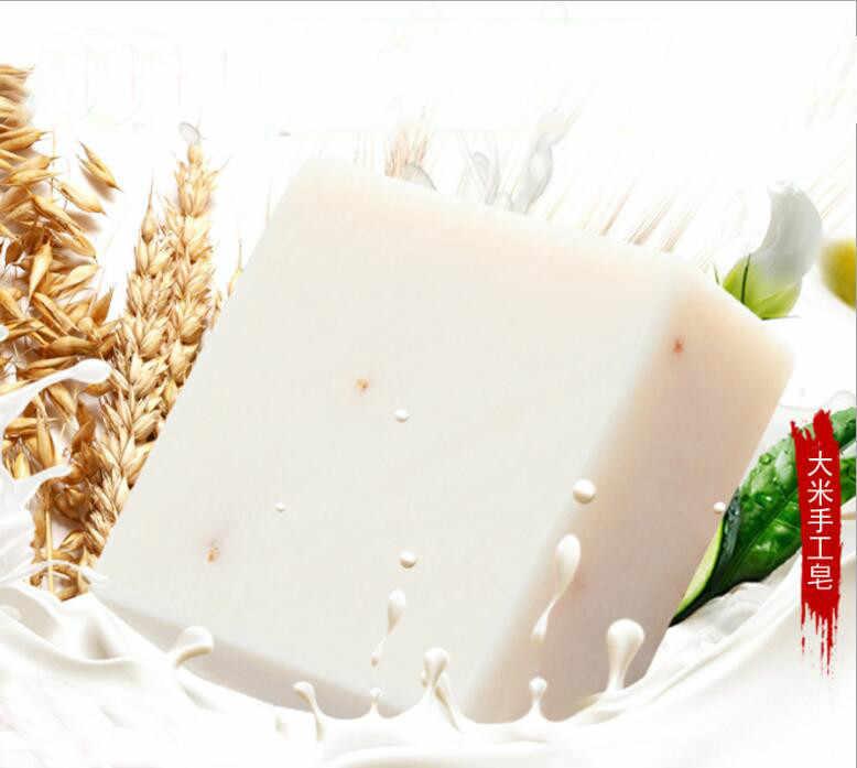 Jabón de mano Tailandia jazmín arroz colágeno hecho a mano vitamina piel blanqueamiento herramienta de baño arroz leche jabón blanqueador agentes acné jabón