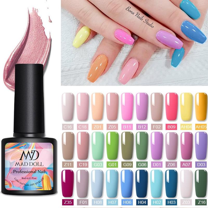 MAD DOLL 8ml Color Nail Gel Polish Spring Series Gel Polish Soak Off LED UV Gel Polish Nail UV Gel Nail Art DIY Design Varnish(China)