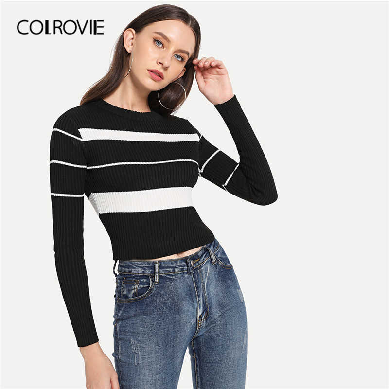 COLROVIE Black and White Rib Knit Trim Striped Sweater Women 2019 Fall Fashion Slim Basic Tops Long Sleeve Casual Crop Sweater