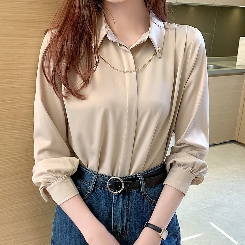 Korean Silk Shirts Women Satin Blouses Shirt Office Lady White Shirts Casual Woman Silk Tops Plus Size Woman Long Sleeve Blouse