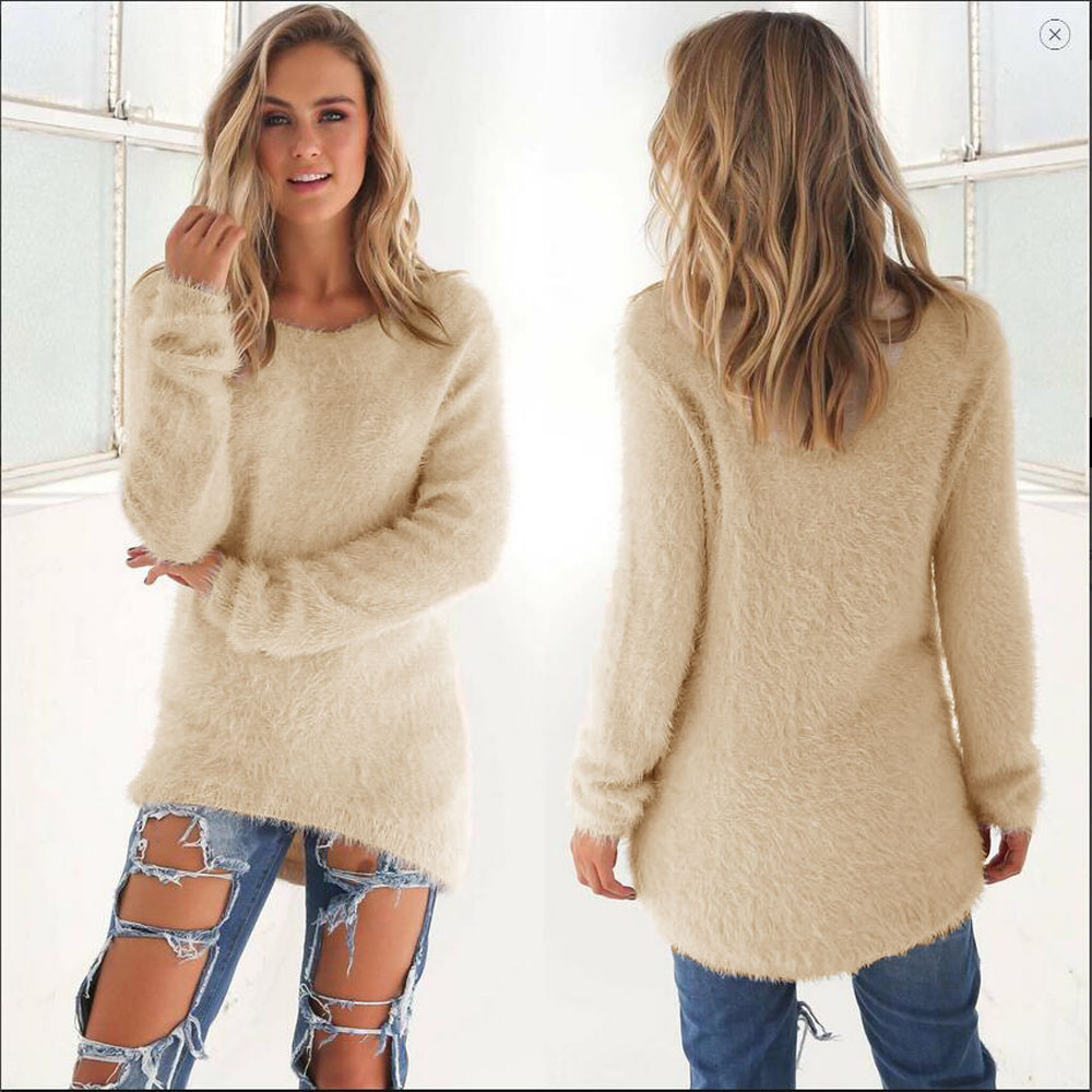 Women's casual sweater fall / winter 2020 fleece solid color long sleeve spandex wool Pullover