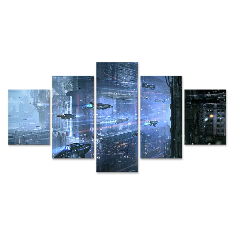 Underwater Cyberpunks City Modular Picture Print 5 Pcs Poster Wall Art Canvas Paintings for Living Room Home Decoration(China)