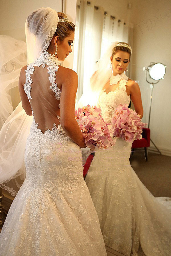 2019 Designer New Arrival High Quality Romantic Sexy Backless Vestido De Novia Mermaid Wedding Dresses Ivory Dress Bridal Gown