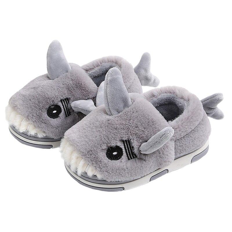 Winte Home Children Footwear Wool Shark Kid Slippers Kapcie Cartoon Baby Shoes Boys Girls тапочки детские Fur Gift Flock Warm