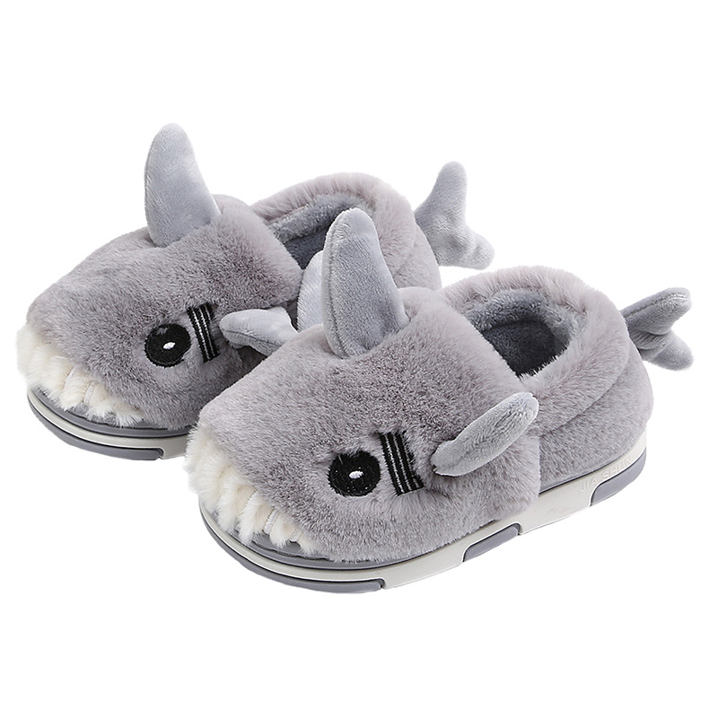 Winte Home Shoes Kids Children's Slippers Footwear Wool Shark Kapcie Cartoon Baby Boys Girls тапочки детские Fur Gift Flop House