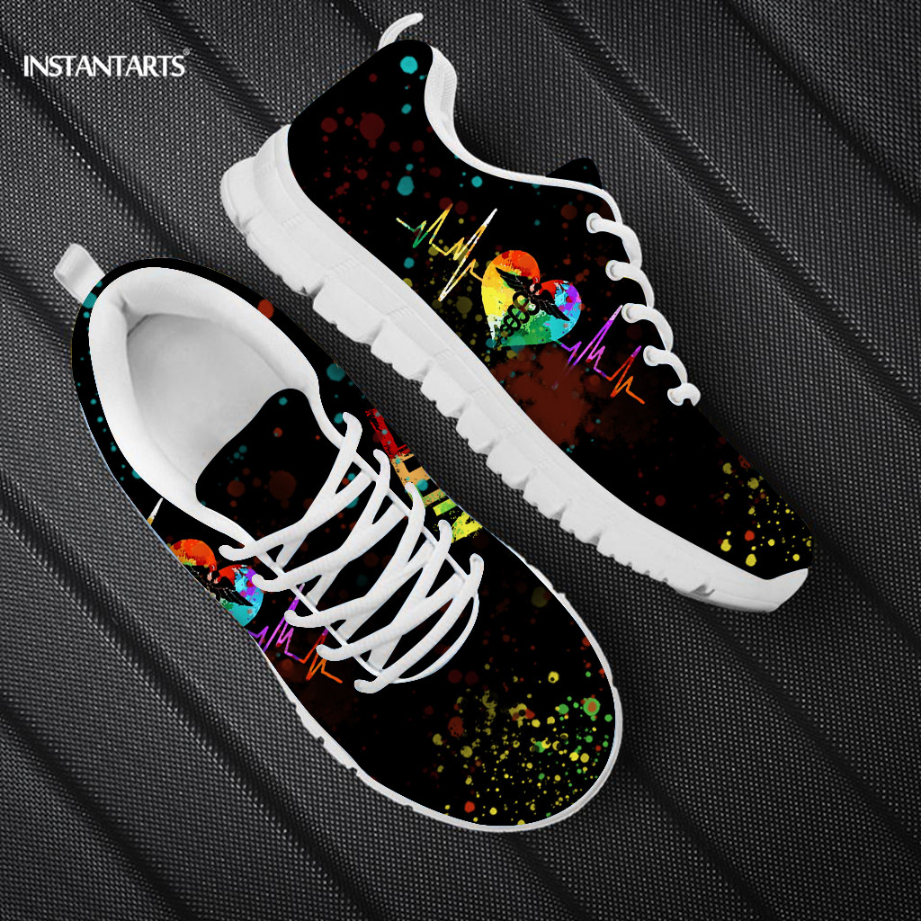INSTANTARTS Rainbow Heart Drawing Women's Shoes Lace Up Sport Sneaker Healthcare Nursing Design Casual Flats Shoes Lightweight