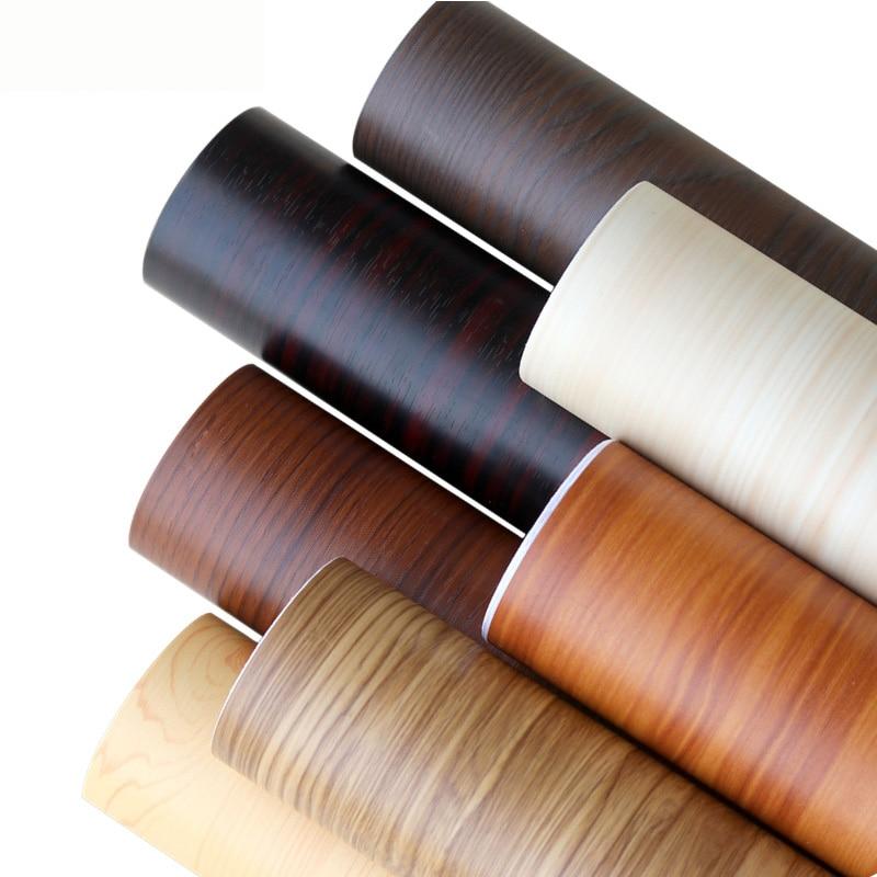 PVC 3D Wood Self Adhesive Wallpaper Kitchen Cabinets Shelf Wardrobe Door Stickers Furniture Home Decor Waterproof Wall Paper