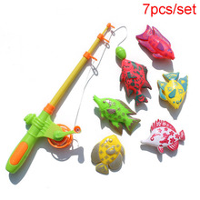 7 Pcs Plastic Fishing Toy Magnetic Educational Fish Rod Baby Bath Toys