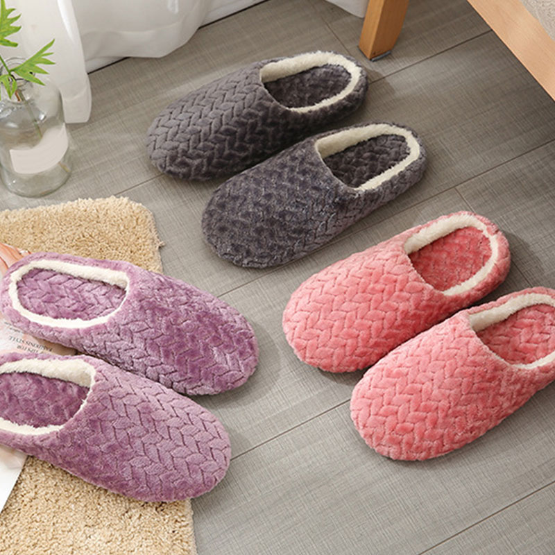 Autumn Winter Women Slippers Bottom Soft Home Shoes Cotton Men Slippers Indoor Slip-On Slides Women Comfortable Shoes For Couple