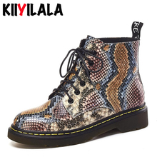 Kiiyilala Genuine Leather Snake Printing Chelsea Boots Women Shoes Ankle Lace-up Round Toe Flat-soled Sewing Womens