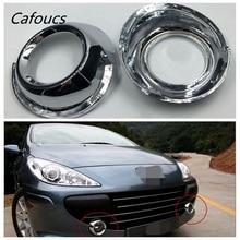 Cafoucs abs Chrome Front Fog Light lamp Frame cover trim Decoration For Peugeot 307  2pcs
