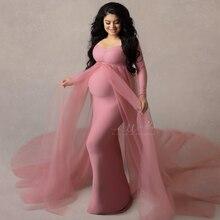 Vestidos largos de tul para maternidad, vestido elástico de algodón para Baby Shower, fotografía de embarazada con capa de tren largo, verano 2020