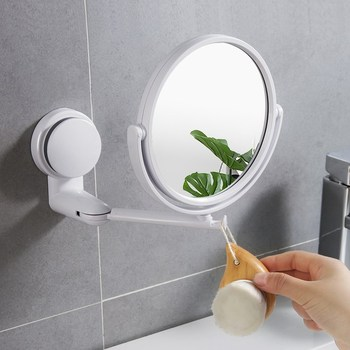 Modern Drill-free Bathroom Mirror 2 Side Makeup Vanity Shave Mirrors Wall Suction Folding Arm Extend Round Bath Accessories bath mirror led cosmetic mirror 1x 3x magnification wall mounted adjustable makeup mirror dual arm extend 2 face bathroom mirror