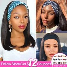 Parrucche Bob da 18 pollici con fascia per capelli umani parrucche Bob per donne nere parrucche diritte brasiliane fatte a macchina Remy parrucche di colore naturale