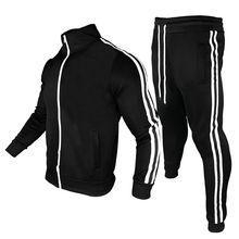2021 Track And Field Suit Men's 2-piece Suit Men's Sportswear Fashion Color Block Jogging Suit Men's Suit fitness Suit Jacket+pa