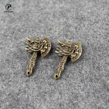 Pendant Keychain Dragon-Head Figurines Desk-Decoration Pet-Ornament Tea Brass Copper