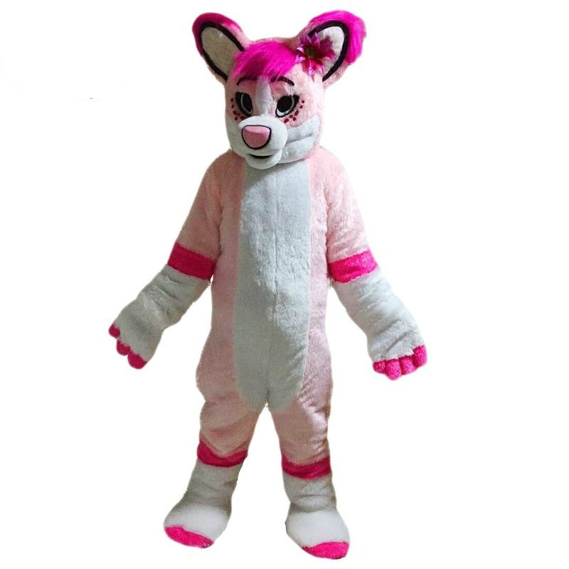 Pink Husky Card Mascot Costume Suits Cosplay Party Game Dress Outfits Clothing Advertising Carnival Halloween Christmas Easter