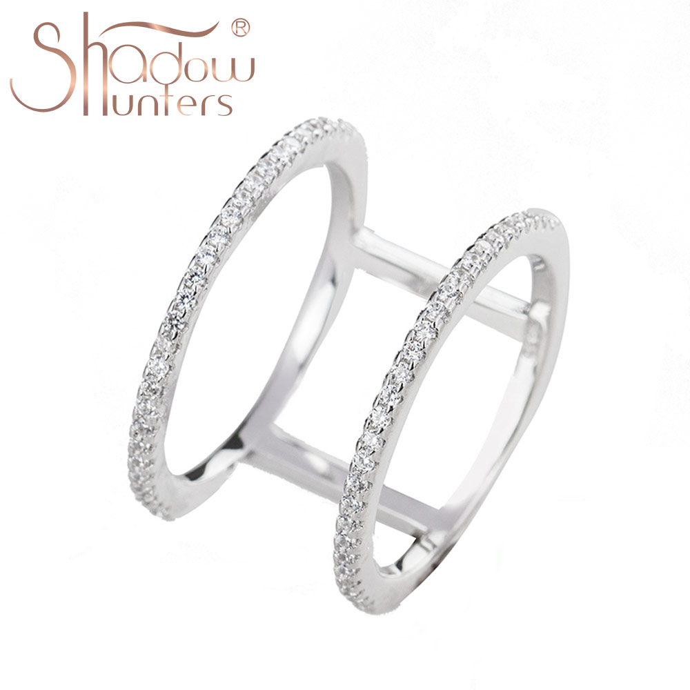 SHADOWHUNTERS Argent 925 Sterling Silver Round Crystal Rings For Women Wedding Rings Women Gift Fashion Silver 925 Jewelry