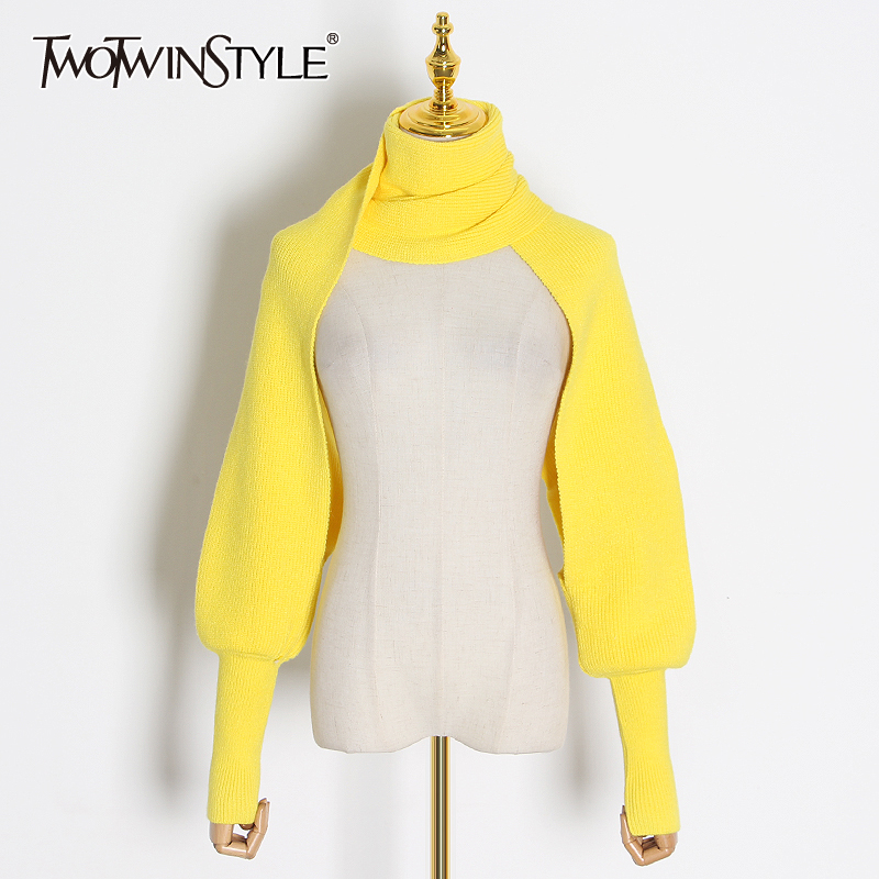 TWOTWINSTYLE Casual Knitting Scarves For Women Solid Sleeve Bib Shawl Cape Elasticity Women Scarf Accessories 2020 Fashion Tide