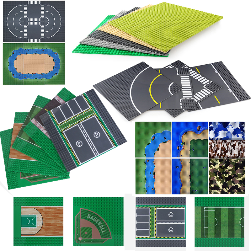32*32 baseplate cidade rua estacionamento, placa base para estrada futebol, basquete, blocos de construção, tijolo diy brinquedos infantis