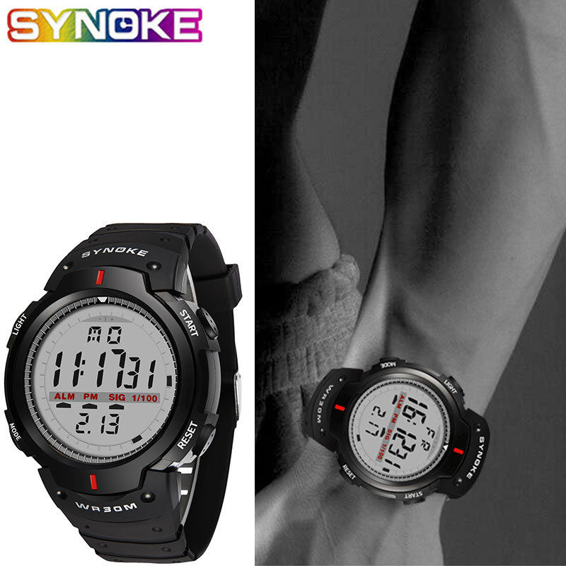 SYNOKE Men Digital Watches Waterproof Electronic LED Digital Outdoor Sports Watch Stopwatch Male Wrist Watches Relojes Hombre