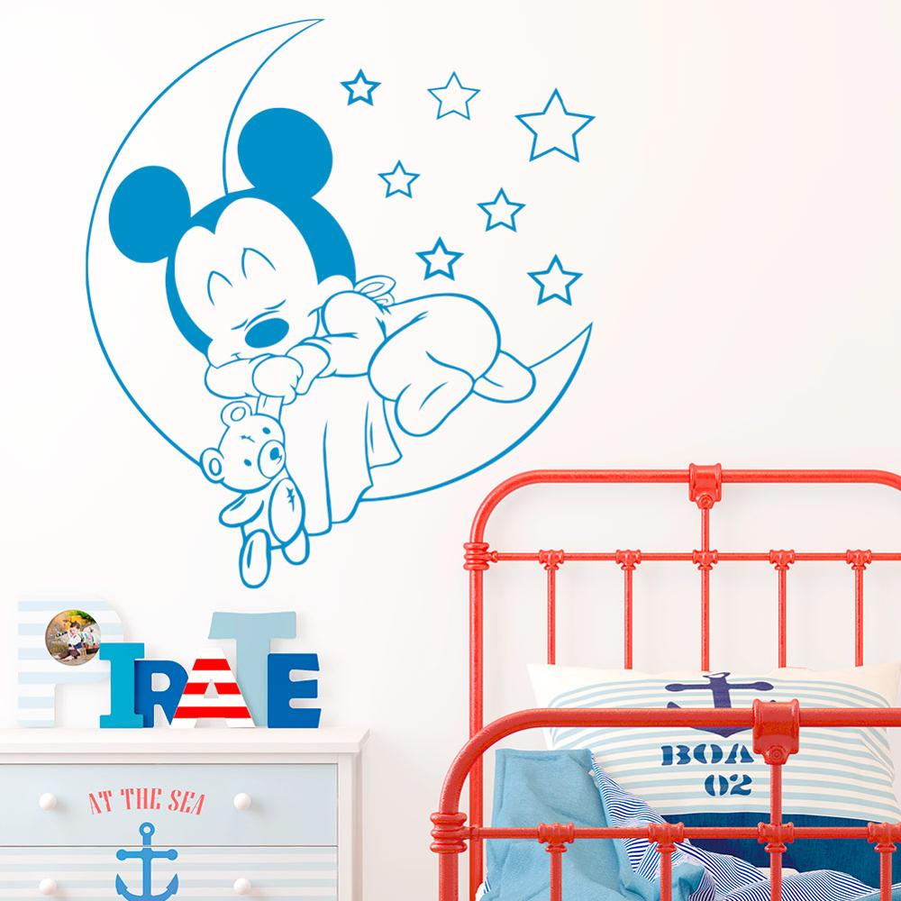 US $2.92 9% OFF|Disney Wall Sticker cute Sleeping Mickey Mouse on Moon with  Stars Vinyl Decal for Kids Baby Room Nursery Bedroom accessories-in Wall ...