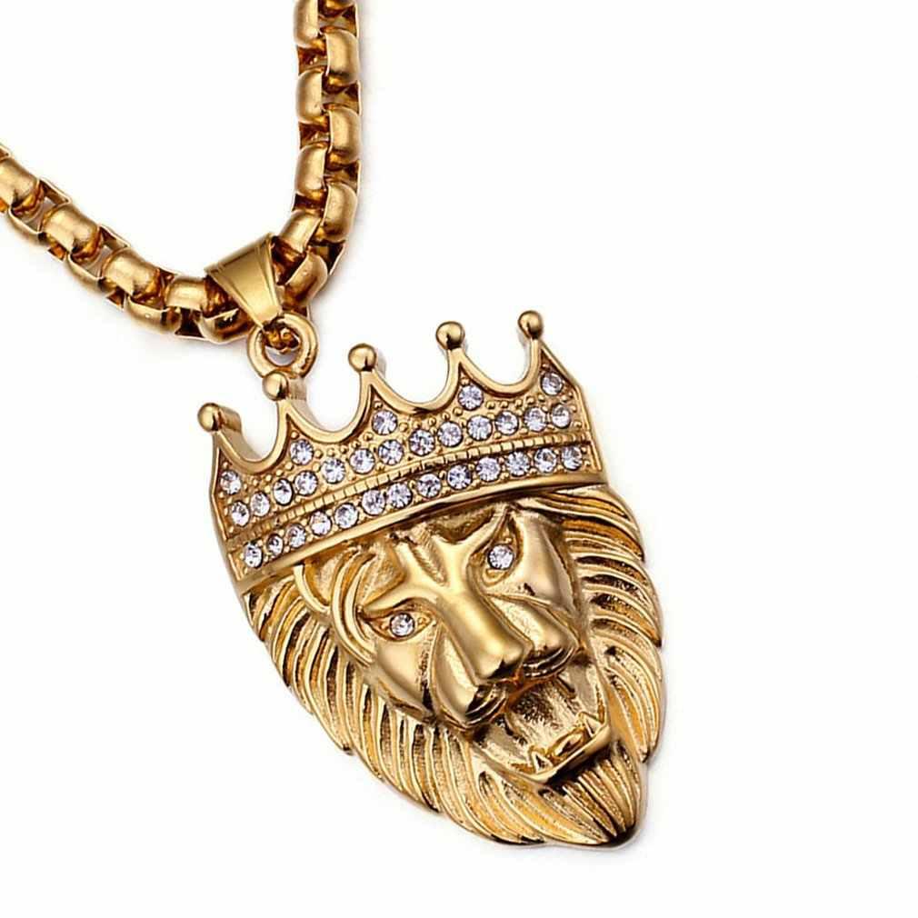 Unisex naszyjnik wisiorek czarująca zwisająca złota Punk duża korona król lew głowy łańcuch rolo błyszczące kryształy AAA ze stali nierdzewnej