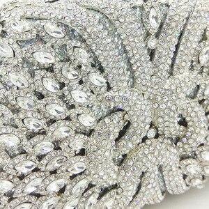 Image 2 - Женский Блестящий клатч Boutique De FGG, серебристая сумочка со стразами, вечерняя сумочка для свадебной вечеринки, металлическая сумочка для невесты