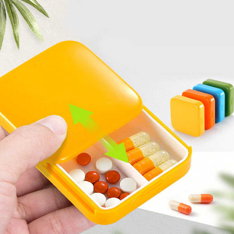 1 PC Mini Portatile 2 Griglia Push Open Style Scatola Della Pillola Medicina Pillbox Tablet di Caso Di Immagazzinaggio Contenitore Custodie Scatola di Immagazzinaggio