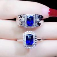 Couple Rings Set Natural Sapphire Lover's Ring Free shipping Finger ring Natural real blue Sapphire 925 sterling silver ring