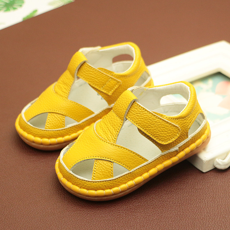 Free Shipping Baby Boy Sandals Baby Girl Shoes Genuine Leather Soft Soles Toddlers  Anti-skid Summer Shoes  Yellow Girls Shoes
