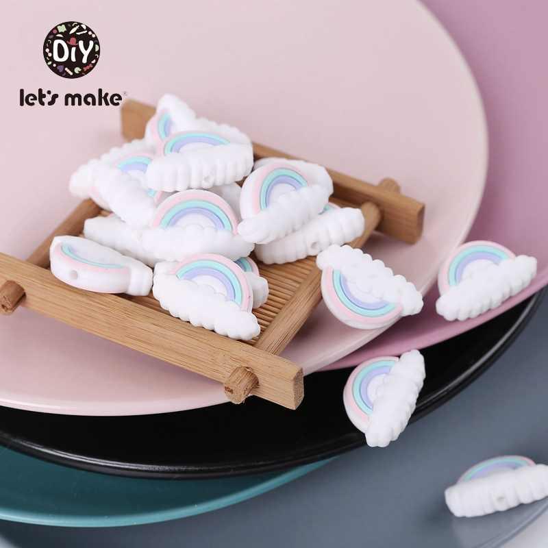 בואו לעשות סיליקון מזון מכרסמים חרוזים סט תינוק בקיעת שיניים צעצועי 5pcs קשת ענן PVC משלוח DIY אביזרי תליון תינוק Teether