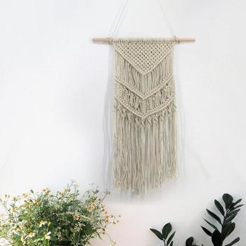 Tapiz de macramé para colgar en la pared, decoración de boda, algodón respetuoso con el medio ambiente, regalos de fiesta artesanales de arte para habitación sostenible