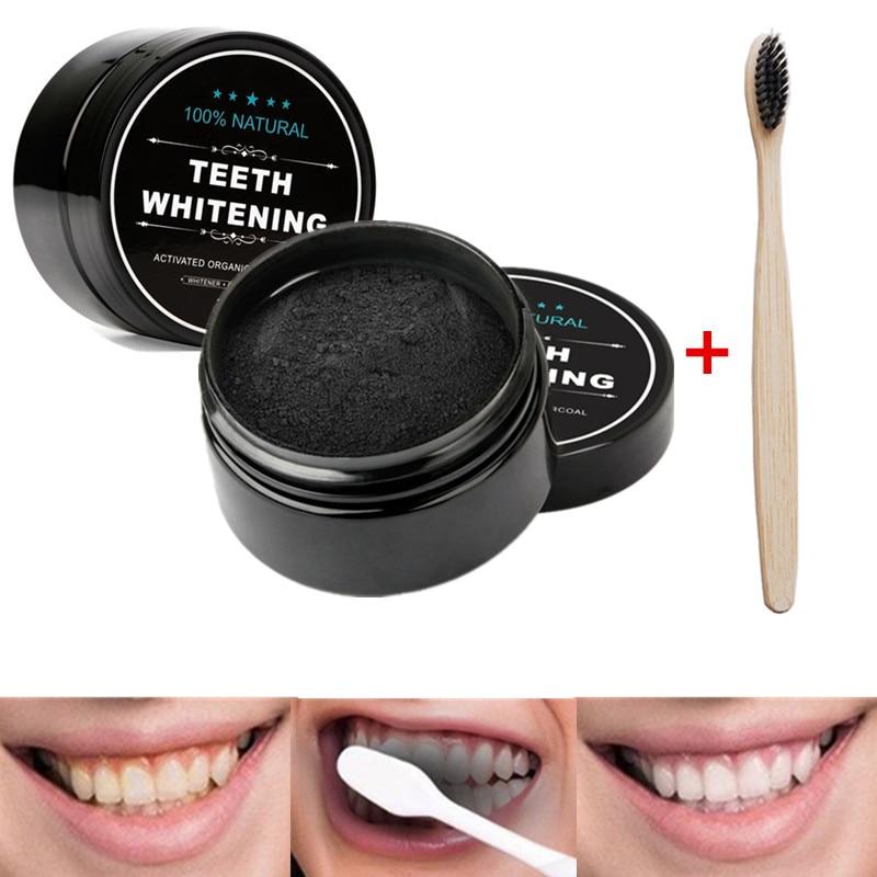 1 унция активированный порошок кокосового угля отбеливающий порошок для зубов бамбуковый набор для отбеливания зубов с зубной щеткой для г...