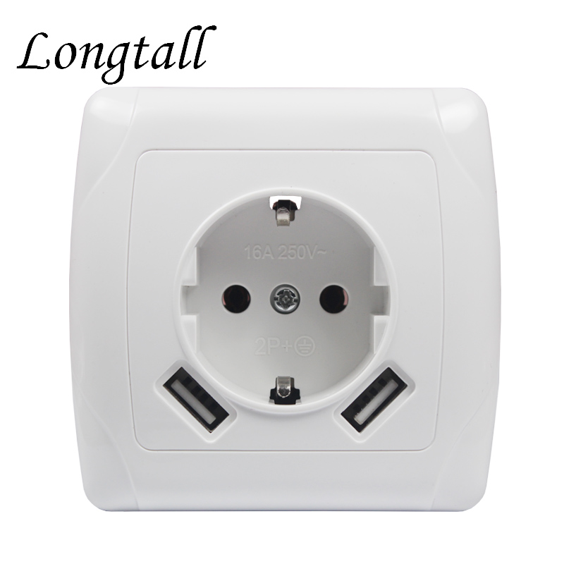 USB Wall Socket charger Free shipping Double USB Port 5V 2A Usb enchufes para pared prise high quality white color LA-04