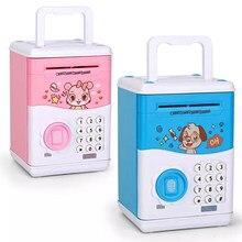 Crianças caixa de dinheiro portátil inteligente eletrônico mealheiro impressão digital atm senha moeda caixa de poupança de dinheiro