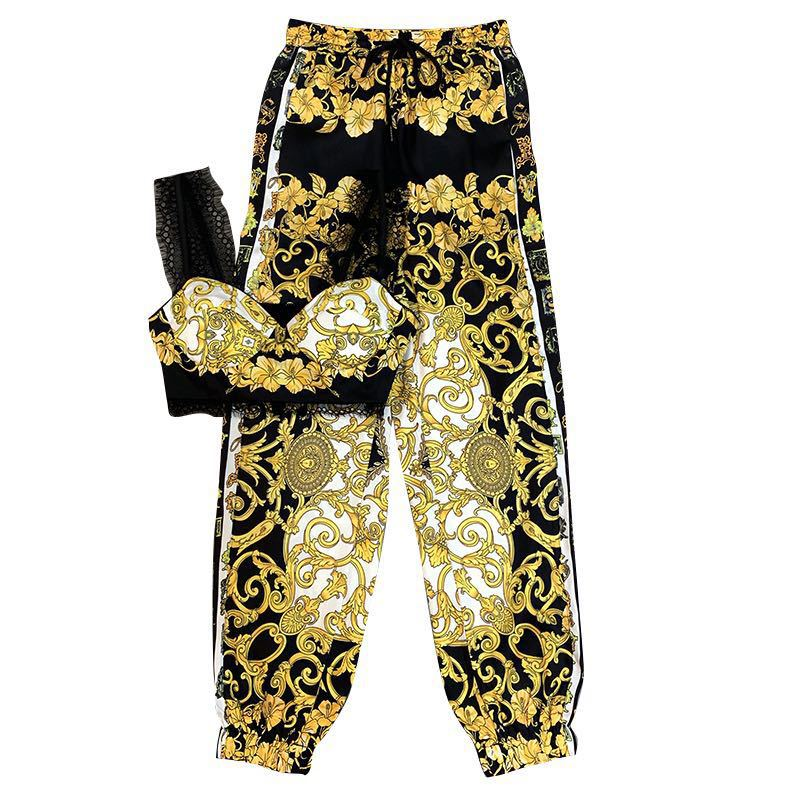 Autumn New Retro Baroque Decorative Pattern Vest Top + High Waist Pants Trend Women'S Fashion Pants Set Net Red Fashion Suit