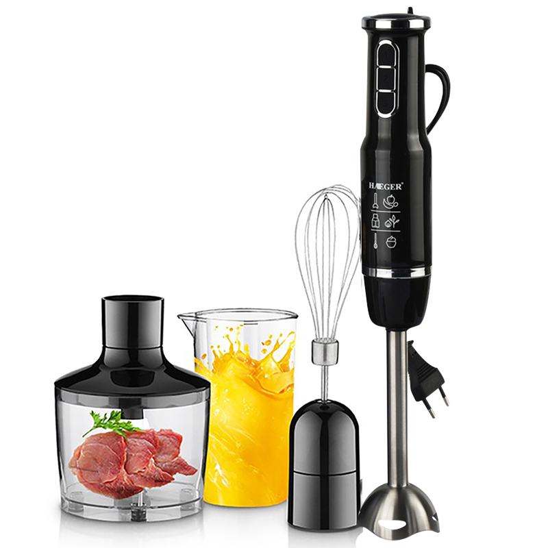 4-in-1 Stainless Steel 750-1500W Immersion Hand Stick Blender Mixer Vegetable Meat Grinder 500mlChopper Whisk 800ml Smoothie Cup