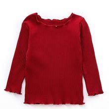 Осень 2020 одежда для маленьких девочек Однотонная футболка