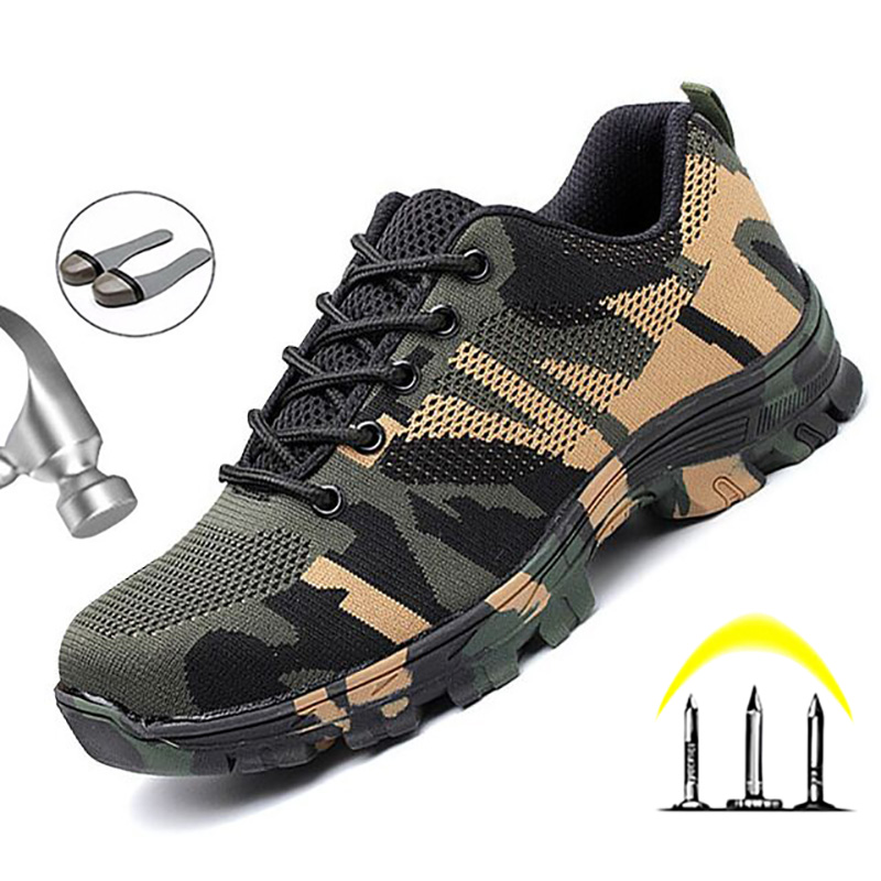 Lightweight Breathable Men Safety Shoes Steel Toe Work Shoes For Men Air Mesh Work Boots Puncture-Proof Construction Sneaker