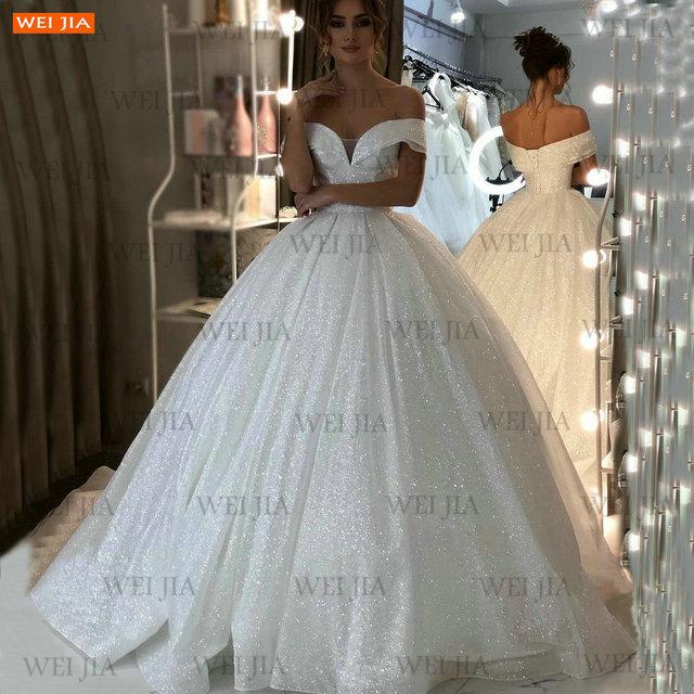 Shiny White Wedding Dresses Lace Up Reflective 2021 Vestido De Noiva Off Shoulder Women Bridal Gowns Customized Suknia Slubna 5