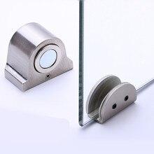 1pc Magnet Glass Door Stop Stainless Steel Door Stopper Magnetic Door Holder Toilet Glass Door Doorstop Furniture Hardware Tool цена 2017