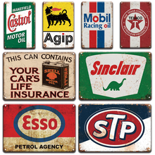 Shell Castrol Motor Oil Metal Tin Sign Vintage Elf Esso BP STP Texaco Metal Poster Signs Shabby Chic Garage Home Wall Decoration(China)