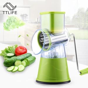 Image 2 - Coupe légumes manuel trancheuse rotation Mandoline trancheuse pomme de terre carotte râpe avec 3 lames de hachoir en acier inoxydable outil de cuisine