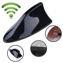 Carro auto tubarão fin antena substituição de fibra carbono à prova dwaterproof água rádio fm/am abs tubarão antena aleta universal acessórios do carro